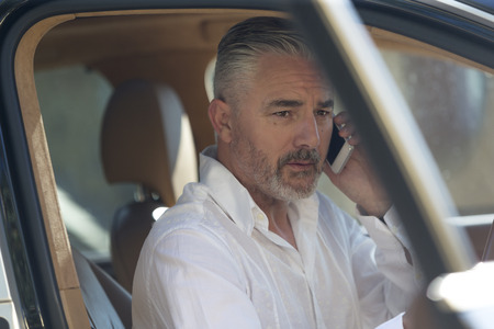 Businessman making a quick call in his car before he drives to work