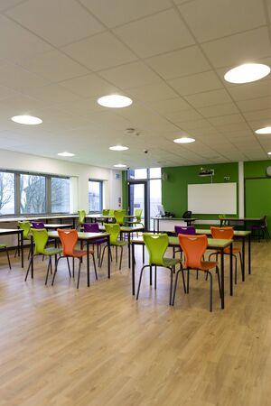 empty classroom: Portrait image of an empty classroom.