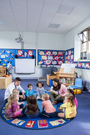 multi story: Group of nursery children sitting on the floor in their classroom with their teachers. The female teacher is reading from a book.