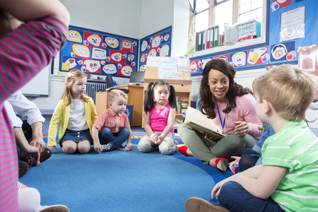 multi story: Group of nursery children sitting on the floor in their classroom. The teacher is reading from a book.