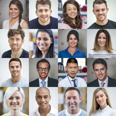 Koláž z šestnácti headshotů dospělých. Jsou to kombinace pohlaví, věku a etnických skupin.