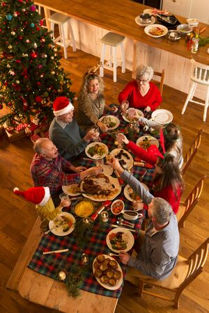 christmas meal: Shot from above of a family sat down to have Christmas dinner. They are all raising a glass, toasting. Stock Photo