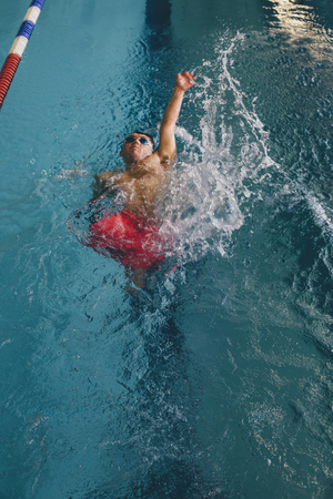 limbless: Quadriplegic swimmer in the water. He is using the back stroke technique in the pool lane.
