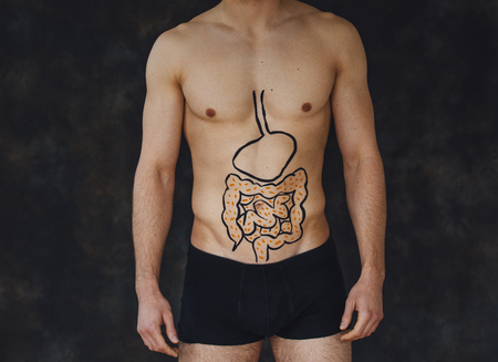 gut: Close up shot of a mans torso. He has a painting of intestines on his body. Stock Photo
