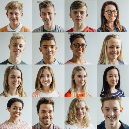 4x4 collage of headshots of high school students and teachers. They are wearing casual and formal clothing and are smiling.