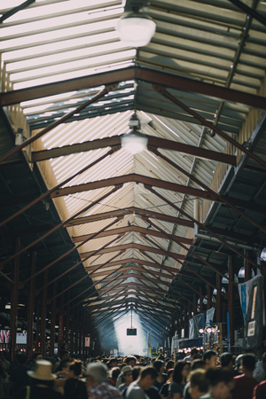 industrial district: High angle shot of the Queen Victoria Market in Australia. It is a busy summer day.