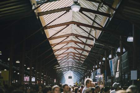 High angle shot of the Queen Victoria Market in Australia. It is a busy summer day. Reklamní fotografie - 80777976