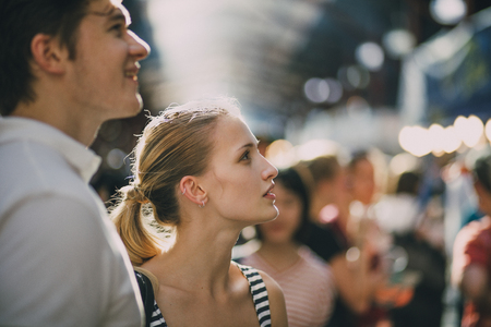 Young couple are shopping together at Queen Victoria Market in Australia. Stock Photo