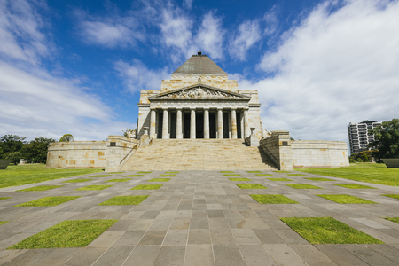 Point of View shot of the Shrine of Remembrance, Melbourne.