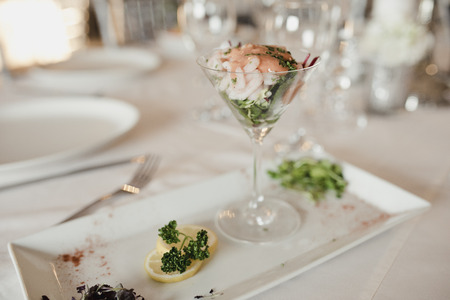 Prawn cocktail starter at a wedding dinner party. Stock Photo
