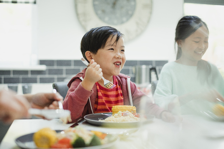 Little boy is enjoying his stir fry dinner and socialising with his family at home.  Stok Fotoğraf