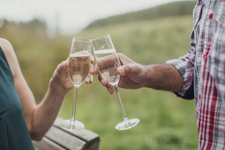Close-up of celebratory toast with champagne.