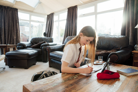 Girl is doing homework in the living room if her home. She is writing in a book, using a digital tablet to study.  Stock Photo