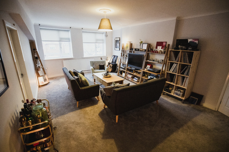 Empty flat living room furished with art and music objects.