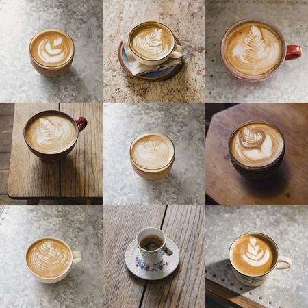 Image montage of nine cups of coffee. There are different types of coffee. Stok Fotoğraf