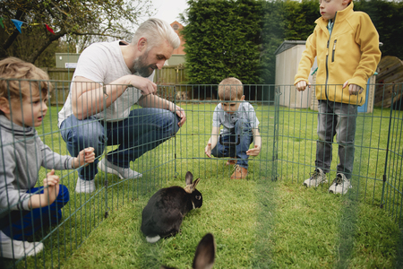 Group of children kneeling outdoors next to a rabbit pen. They are trying to pet the rabbits by putting their fingers through the holes in the fence. Reklamní fotografie