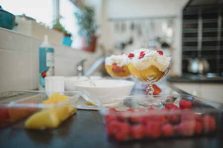 Close up shot of fruit compote ingredients on a kitchen counter. Banco de Imagens - 117040366