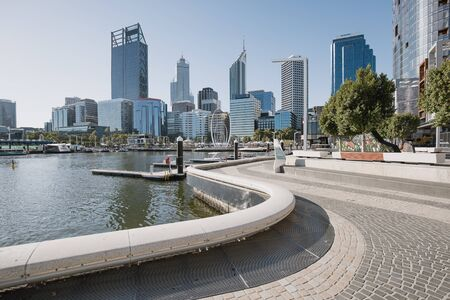 Skyline of Perth, Australia taken on the sidewalk to access the ferry on Swan River. Reklamní fotografie