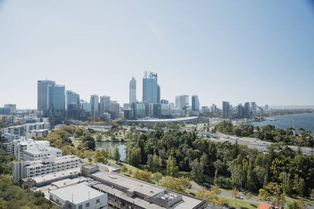 Wide angle view of Perth, showing the cities sky line, park areas and swan river. Reklamní fotografie