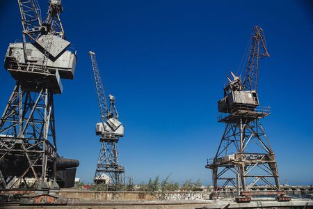 Abandoned cranes at the docks in Perth, Australia.