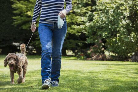 An unrecognizable person carrying a poo bag as she takes her dog for a walk in a public park.