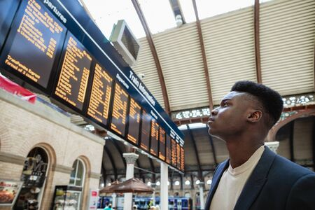 A businessman looking at a departure board in a train station.