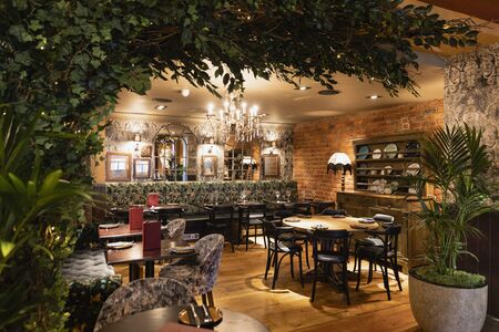 A wide shot of a restaurant in Newcastle Upon Tyne.