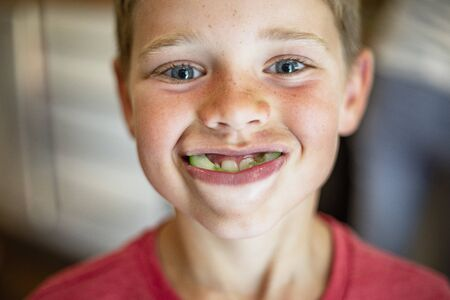 A front view shot of a young boy smiling and looking at the camera, he has a mouth full of cucumber. Stockfoto