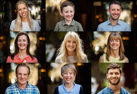 A headshot portrait of a family in a digital composite montage. Stockfoto