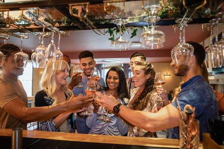 A group of friends having a celebratory toast together in a bar. Stockfoto