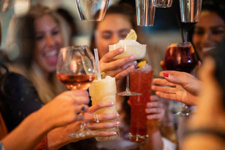 Female friends having drinks and having a celebratory toast together in a bar.