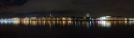 neva: Night panorama of Neva with a kind on Saint Isaacs Cathedral.