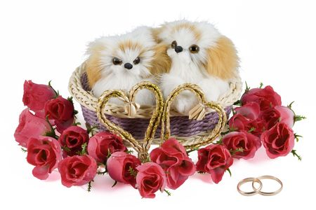 Two toy puppies in a basket with two hearts, flowers and wedding rings isolated on a white background. photo