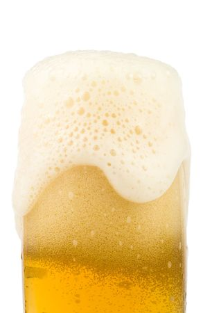 foamy: The fresh foamy beer isolated on a white background