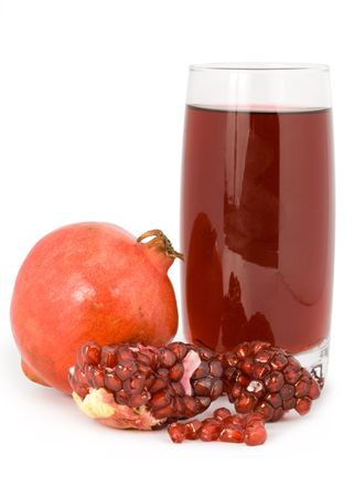 Pomegranate and garnet juice in a glass isolated on a white background. Stock Photo - 2861023