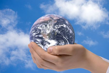 The globe in children's hands. Concept for environment conservation. Stock Photo - 2927026