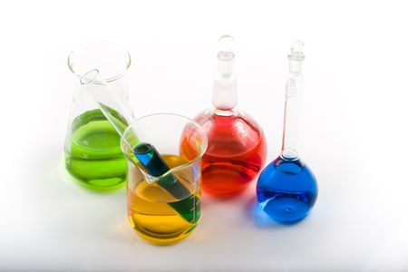 Various colorful flasks over white background Stock Photo - 2972357
