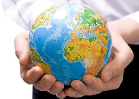 breakable: The globe in childrens hands. Concept for environment conservation. Stock Photo