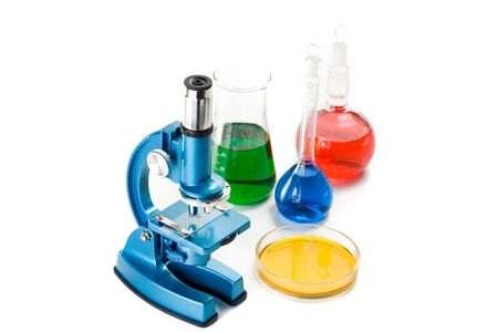 Various colorful flasks and blue microscope over white background Stock Photo - 2978507