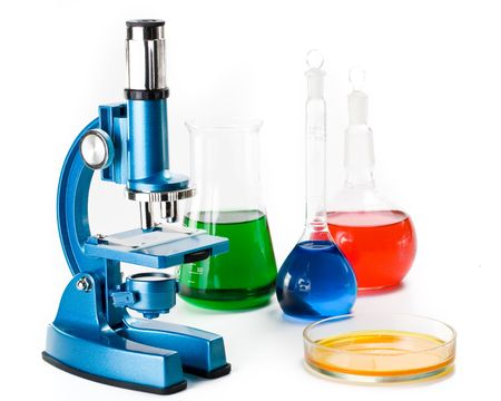 Various colorful flasks and blue microscope over white background Stock Photo - 3012750