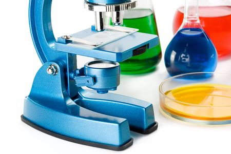 Various colorful flasks and blue microscope over white background Stock Photo - 3031481
