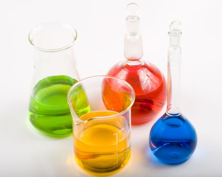 Various colorful flasks over white background Stock Photo - 3051099