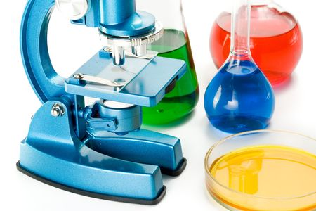 Various colorful flasks and blue microscope over white background Stock Photo - 3051131