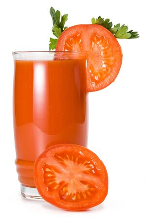 Tomato juice isolated on a white background. Clippind path included. photo