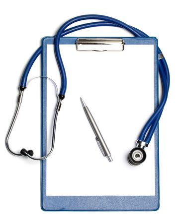 Medical clipboard with blank paper for messages, a pen and a stethoscope photo