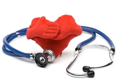Heart and a stethoscope on a white background. Concept for cardiology. Stock Photo - 3111522
