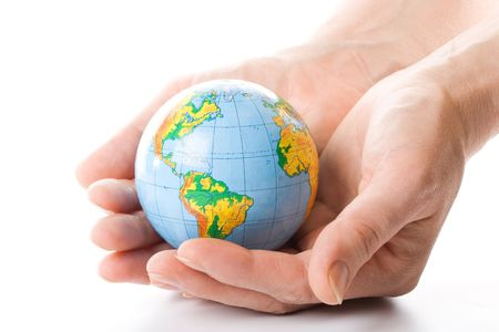 The globe in hands. Concept for environment conservation. photo