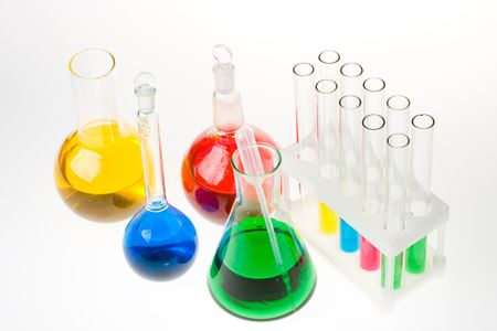 Various colorful glass laboratory ware on a white background Stock Photo - 3184970