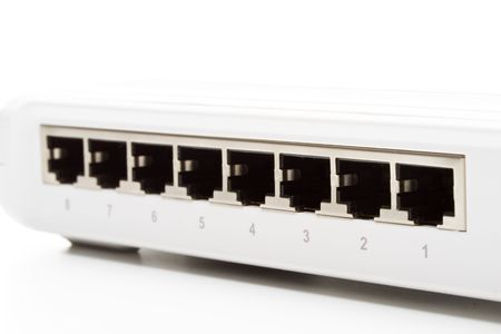Network switch isolated on a white background photo