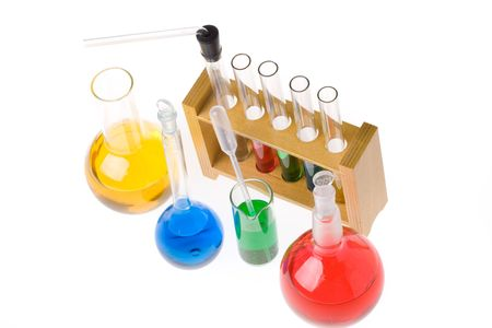 Various colorful glass laboratory ware on a white background Stock Photo - 3247395